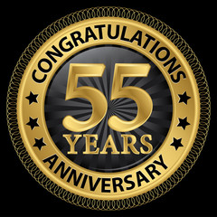 55 years anniversary congratulations gold label with ribbon, vec