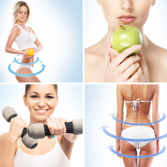 Sport, dieting, fitness and healthy eating collage