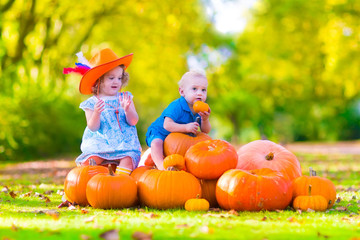 Adorable children at pumpkin patch