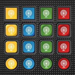 Wifi sign. Wi-fi symbol. Wireless Network icon zone. Set colour