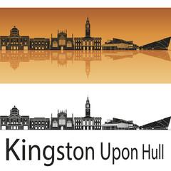 Kingston Upon Hul skyline in orange background