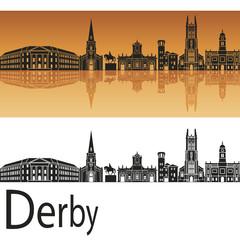 Derby skyline in orange background