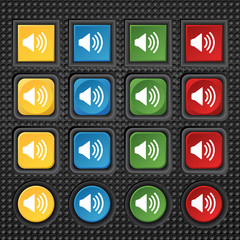 Speaker volume sign icon. Sound symbol. Set colour buttons.