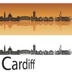 Cardiff skyline in orange background