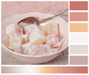 Assorted Turkish Delight. Natural Linen Napkin. Palette With Com