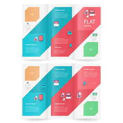 brochure design template flat colored trifold