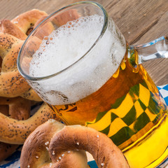 homemade pretzels and beer