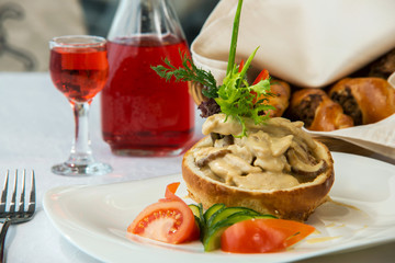 tasty dish with mushrooms in a restaurant