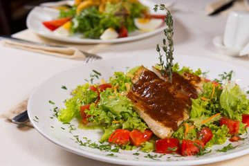 Mouth Watering Healthy Main Course on White Plate