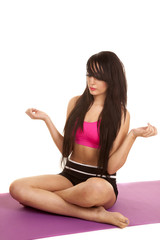 woman black and pink fitness sit hands out