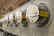 Leinwandbild Motiv Electric Meters For Multi-Family Apartment Building 2