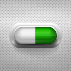 Green and white capsule pill with background