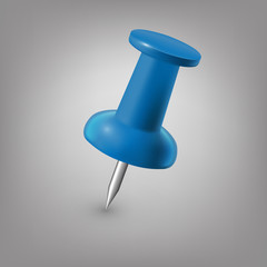 Blue push pin isolated, vector.
