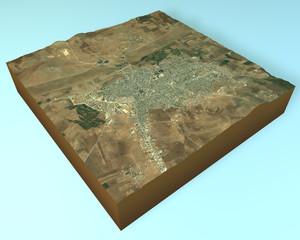 Kobane, Ayn al arab, Siria, spaccato vista satellitare