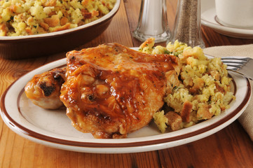 Barbecued chicken and stuffing