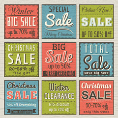 christmas  banners with sale offer, vector