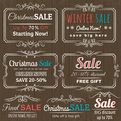 christmas  labels with sale offer, vector