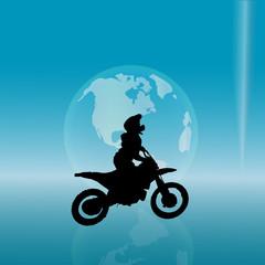 Vector silhouette of a biker.