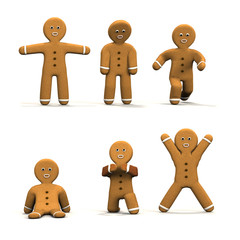 Six moving Gingerbread man on white background.