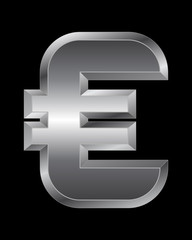 rectangular beveled metal font - euro currency symbol