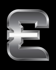 rectangular beveled metal font - pound currency symbol