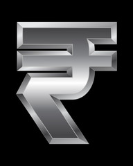 rectangular beveled metal font - rupee currency symbol