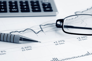 Stock market graphs and charts analysis