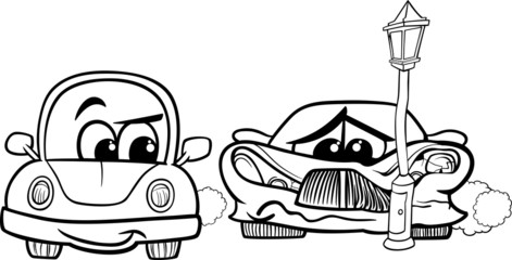 sports car crashed cartoon illustration