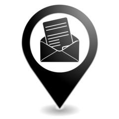 courrier sur symbole localisation noir