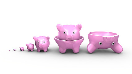 Saving money concept. Piggy banks replace the Russian dolls.