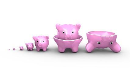 Saving money concept. Piggy banks replace the Russian dolls.
