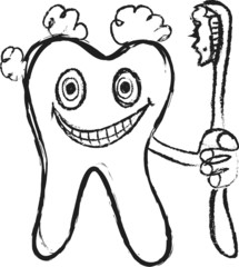 doodle tooth and toothbrush