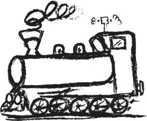 doodle naive steam locomotive