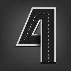 Four number. Road font