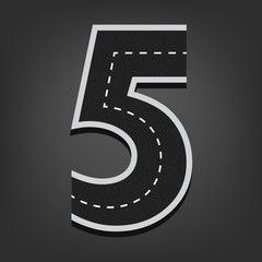 Five number. Road font
