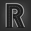 R letter. Road font - 71335453