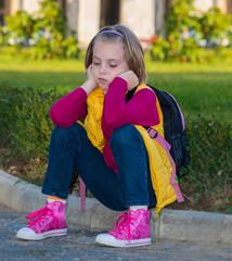 Pensive child girl .
