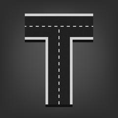 T letter. Road font