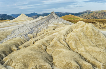 Beautiful mud volcanoes landscape