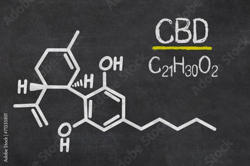 Schiefertafel mit der chemischen Formel von CBD - 71335801