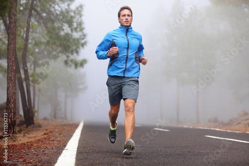 Leinwanddruck Bild Healthy running runner man workout