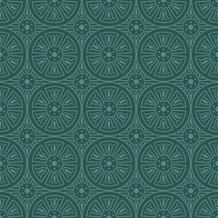 Bluish Green Colors Round grid Pattern. Korean traditional Patte