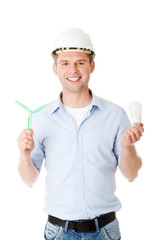 Man with a wind turbine and a light bulb.
