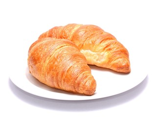 Chocolate croissants isolated on white background