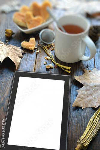 digital tablet and coffee Poster