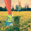 Healthy lifestyle runner - running shoes on woman