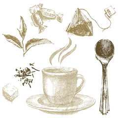hand drawn tea set