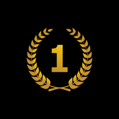 Gold vector silhouette winner icon with the number 1. Laurel wre