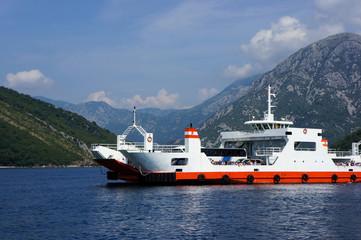 The ferry crossing of the Boka Kotorska Bay