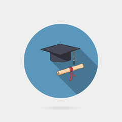Vector icon of mortarboard or graduation cap and diploma